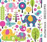 cute elephants  ladybugs ... | Shutterstock .eps vector #380221993