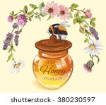 honey banner with wild flowers... | Shutterstock .eps vector #380230597