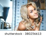 beautiful sexy blonde woman in... | Shutterstock . vector #380256613