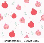 cute pomegranate with slice and ... | Shutterstock .eps vector #380259853