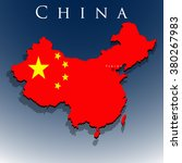 vector 3d china map with a flag ... | Shutterstock .eps vector #380267983