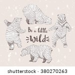 set of sketched bears with the... | Shutterstock .eps vector #380270263