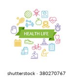 health life fitness concept and ... | Shutterstock .eps vector #380270767