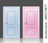 two doors toilets pink and blue ...   Shutterstock .eps vector #380274877