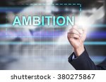"Small photo of Businessman drawing on virtual screen ""Ambition""."