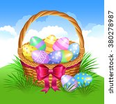 easter basket with colored eggs | Shutterstock .eps vector #380278987