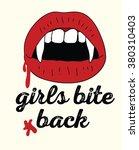 vampire lips with fangs  ... | Shutterstock .eps vector #380310403
