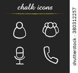 web conference chalk icons set. ...