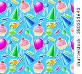 happy birthday seamless pattern.... | Shutterstock .eps vector #380331643