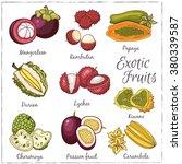 exotic fruits  mangosteen ... | Shutterstock .eps vector #380339587