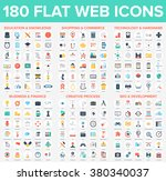 vector set of 180 flat web... | Shutterstock .eps vector #380340037
