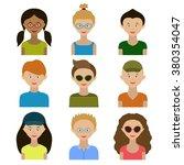 avatars. children.girls and... | Shutterstock .eps vector #380354047