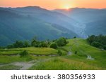 Stock photo beautiful sunset at mountain village surroundings summer landscape 380356933