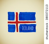 hand drawn watercolor iceland... | Shutterstock . vector #380372113