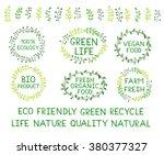set of watercolor green logos.... | Shutterstock .eps vector #380377327