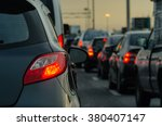 traffic jam with row of cars on ... | Shutterstock . vector #380407147