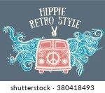 hippie vintage car a mini van.... | Shutterstock .eps vector #380418493
