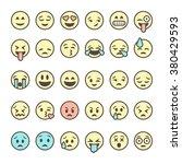 set of outline emoticons ...   Shutterstock .eps vector #380429593