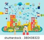 smart media city landscape flat ... | Shutterstock .eps vector #380438323