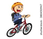 boy on a bicycle cartoon vector ... | Shutterstock .eps vector #380450947
