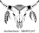 hand drawn buffalo skull native ...