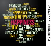 happiness word cloud. dark and... | Shutterstock .eps vector #380495527