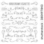set of hand drawn vignettes in... | Shutterstock . vector #380497843