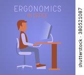ergonomics in office. man on... | Shutterstock .eps vector #380521087