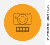camera outline vector icon on...