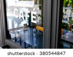 alphabet cafe word on the window | Shutterstock . vector #380544847