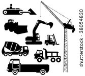 Construction machinery silhouettes including crane excavator and cement mixer - stock vector