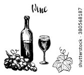 hand drawn wine illustration.... | Shutterstock .eps vector #380568187