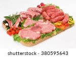 grilled pork on wooden board | Shutterstock . vector #380595643
