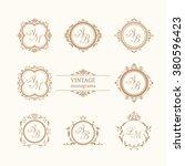 set of elegant floral monograms | Shutterstock .eps vector #380596423