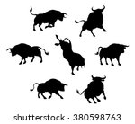 a series of bull cattle animal... | Shutterstock .eps vector #380598763