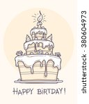 greeting card with big birthday ... | Shutterstock .eps vector #380604973