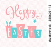 happy easter card. easter hand...   Shutterstock .eps vector #380609443