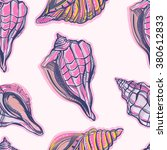 seamless pattern with seashells.... | Shutterstock .eps vector #380612833