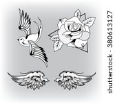 old school tattoo swallow.rose... | Shutterstock .eps vector #380613127