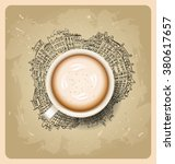 cup on city vector background.... | Shutterstock .eps vector #380617657
