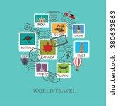 world travel  background. stamp ... | Shutterstock .eps vector #380633863