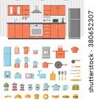 kitchen interior with kitchen... | Shutterstock .eps vector #380652307