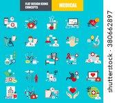 Постер, плакат: Flat medical icons concept