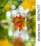 falling autumn leaves above the ... | Shutterstock . vector #380674177