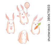 bunnies vector set. cute... | Shutterstock .eps vector #380675833