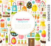 happy easter background. flat... | Shutterstock .eps vector #380691133