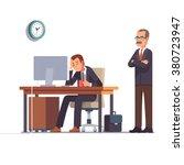 boss watching over shoulder of... | Shutterstock .eps vector #380723947