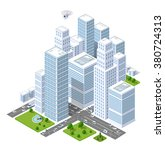 a large city of isometric urban ... | Shutterstock . vector #380724313