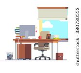workplace office desk with a... | Shutterstock .eps vector #380730553