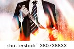 Small photo of Business competition,Businessman bring out knife ready to fight or protect business.